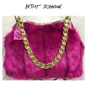 NWT Betsey Johnson Soft Fuchsia Faux Fur Handbag
